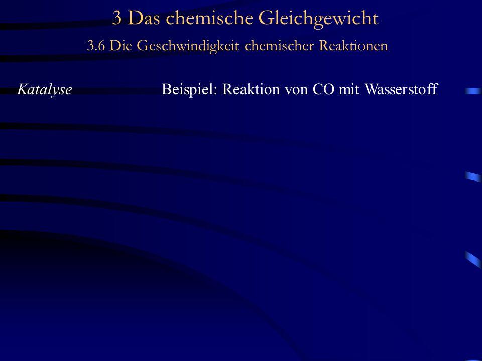 3 Das chemische Gleichgewicht 3.6 Die Geschwindigkeit chemischer Reaktionen KatalyseBeispiel: Reaktion von CO mit Wasserstoff