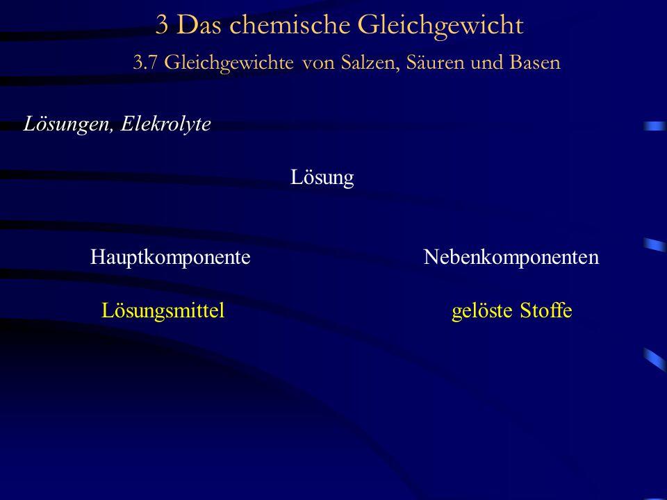 3 Das chemische Gleichgewicht 3.7 Gleichgewichte von Salzen, Säuren und Basen Lösungen, Elekrolyte Lösung HauptkomponenteNebenkomponenten Lösungsmittel gelöste Stoffe