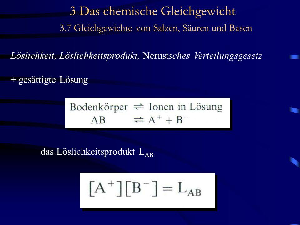 3 Das chemische Gleichgewicht 3.7 Gleichgewichte von Salzen, Säuren und Basen Löslichkeit, Löslichkeitsprodukt, Nernstsches Verteilungsgesetz + gesättigte Lösung das Löslichkeitsprodukt L AB