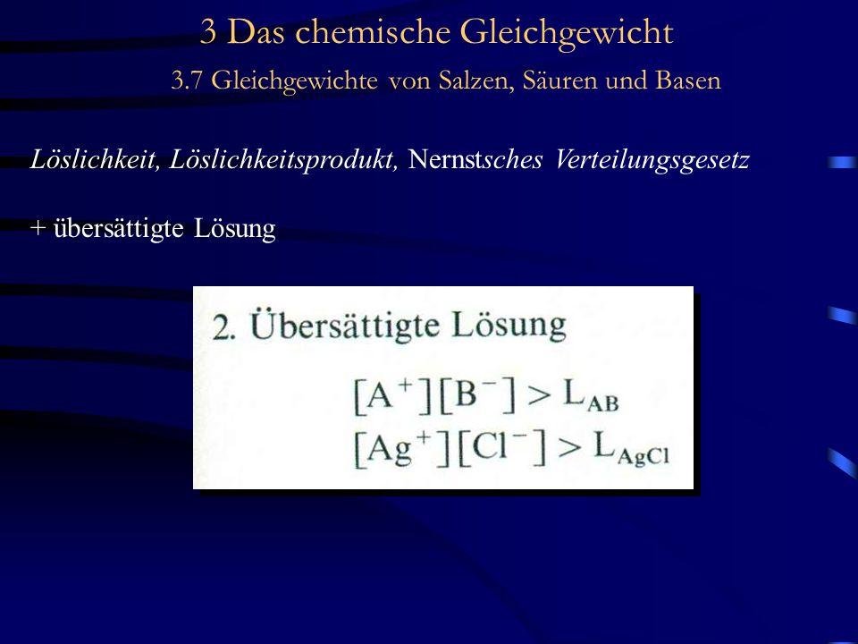 3 Das chemische Gleichgewicht 3.7 Gleichgewichte von Salzen, Säuren und Basen Löslichkeit, Löslichkeitsprodukt, Nernstsches Verteilungsgesetz + übersättigte Lösung