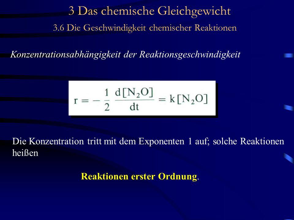 3 Das chemische Gleichgewicht 3.6 Die Geschwindigkeit chemischer Reaktionen Konzentrationsabhängigkeit der Reaktionsgeschwindigkeit Die Konzentration tritt mit dem Exponenten 1 auf; solche Reaktionen heißen Reaktionen erster Ordnung.