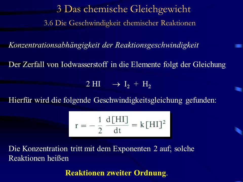 3 Das chemische Gleichgewicht 3.6 Die Geschwindigkeit chemischer Reaktionen Konzentrationsabhängigkeit der Reaktionsgeschwindigkeit Der Zerfall von Iodwasserstoff in die Elemente folgt der Gleichung 2 HI  I 2 + H 2 Hierfür wird die folgende Geschwindigkeitsgleichung gefunden: Die Konzentration tritt mit dem Exponenten 2 auf; solche Reaktionen heißen Reaktionen zweiter Ordnung.