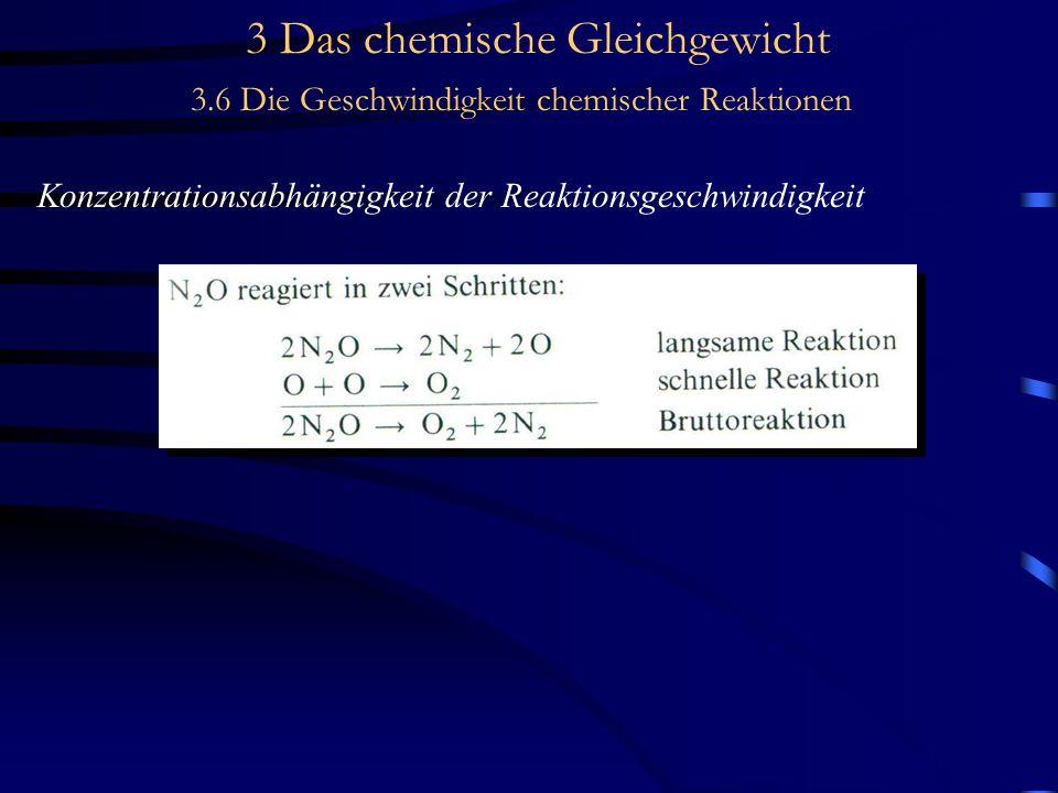 3 Das chemische Gleichgewicht 3.6 Die Geschwindigkeit chemischer Reaktionen Konzentrationsabhängigkeit der Reaktionsgeschwindigkeit