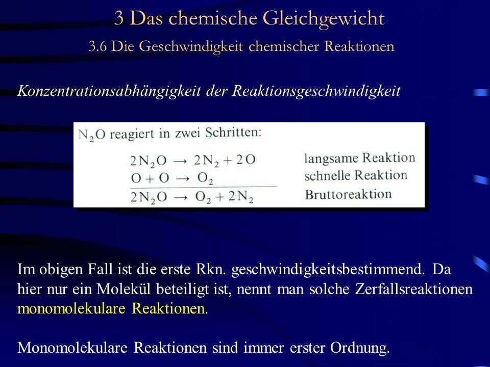 3 Das chemische Gleichgewicht 3.6 Die Geschwindigkeit chemischer Reaktionen Konzentrationsabhängigkeit der Reaktionsgeschwindigkeit Im obigen Fall ist die erste Rkn.