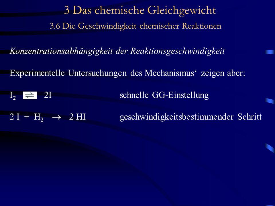 3 Das chemische Gleichgewicht 3.6 Die Geschwindigkeit chemischer Reaktionen Konzentrationsabhängigkeit der Reaktionsgeschwindigkeit Experimentelle Untersuchungen des Mechanismus' zeigen aber: I 2 2Ischnelle GG-Einstellung 2 I + H 2  2 HIgeschwindigkeitsbestimmender Schritt