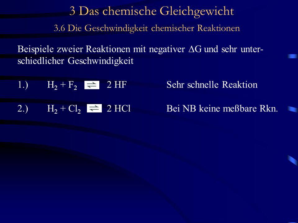 3 Das chemische Gleichgewicht 3.6 Die Geschwindigkeit chemischer Reaktionen Konzentrationsabhängigkeit der Reaktionsgeschwindigkeit Experimentelle Untersuchungen des Mechanismus' zeigen aber: I 2 2Ischnelle GG-Einstellung 2 I + H 2  2 HIgeschwindigkeitsbestimmender Schritt (trimolekulare Reaktion)