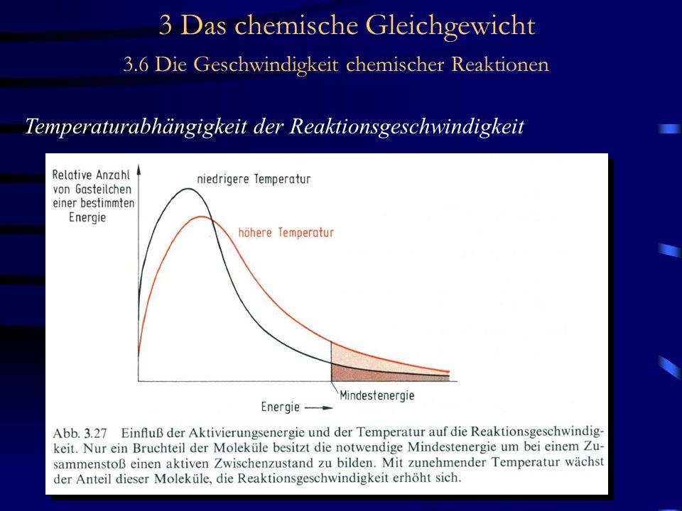 3 Das chemische Gleichgewicht 3.6 Die Geschwindigkeit chemischer Reaktionen Temperaturabhängigkeit der Reaktionsgeschwindigkeit
