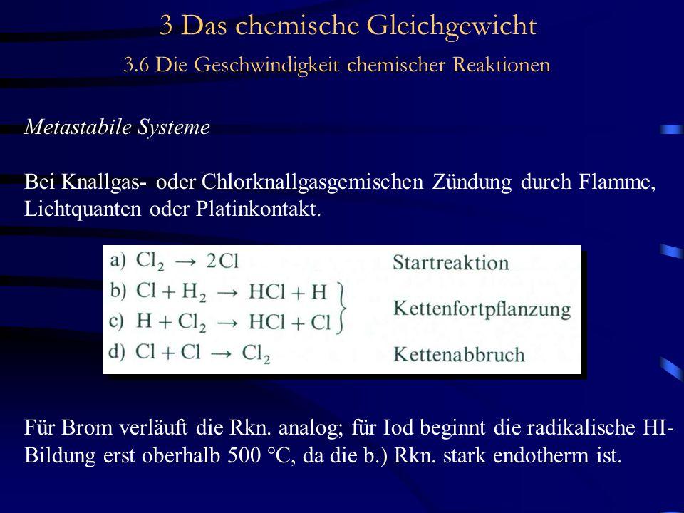 3 Das chemische Gleichgewicht 3.6 Die Geschwindigkeit chemischer Reaktionen Metastabile Systeme Bei Knallgas- oder Chlorknallgasgemischen Zündung durch Flamme, Lichtquanten oder Platinkontakt.