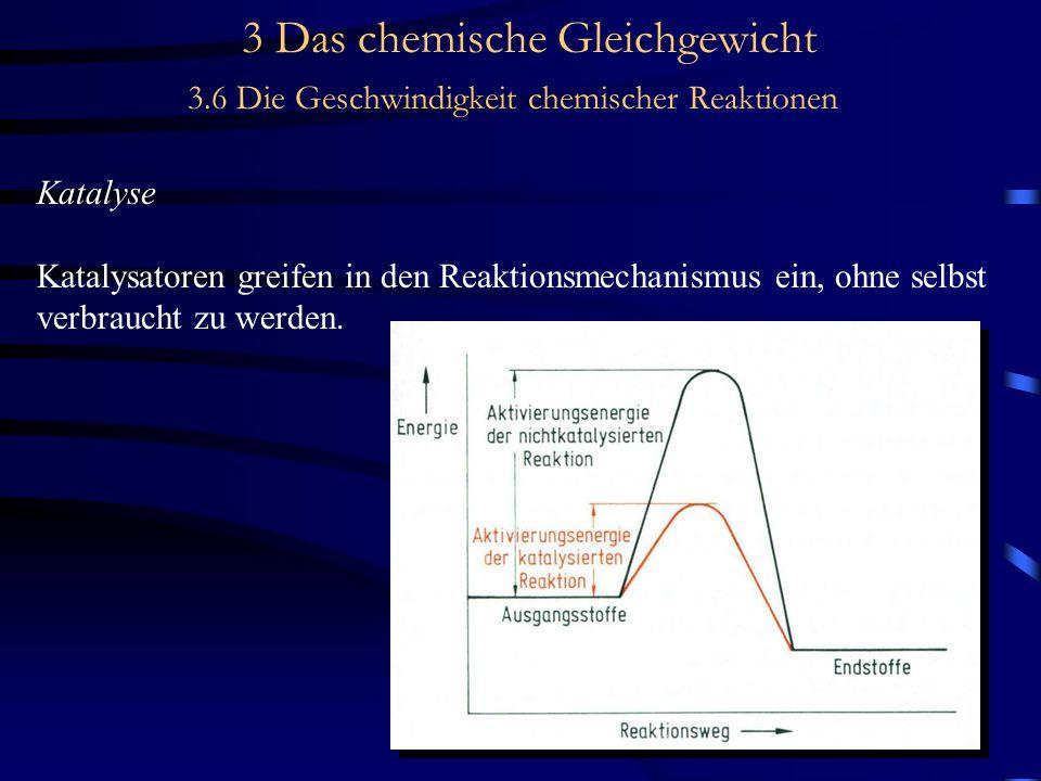 3 Das chemische Gleichgewicht 3.6 Die Geschwindigkeit chemischer Reaktionen Katalyse Katalysatoren greifen in den Reaktionsmechanismus ein, ohne selbst verbraucht zu werden.