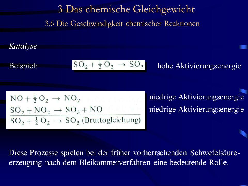 3 Das chemische Gleichgewicht 3.6 Die Geschwindigkeit chemischer Reaktionen Katalyse Beispiel:hohe Aktivierungsenergie niedrige Aktivierungsenergie Diese Prozesse spielen bei der früher vorherrschenden Schwefelsäure- erzeugung nach dem Bleikammerverfahren eine bedeutende Rolle.