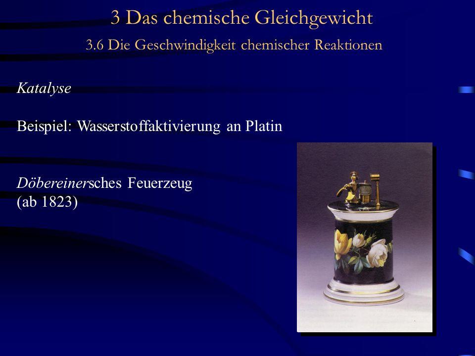 3 Das chemische Gleichgewicht 3.6 Die Geschwindigkeit chemischer Reaktionen Katalyse Beispiel: Wasserstoffaktivierung an Platin Döbereinersches Feuerzeug (ab 1823)