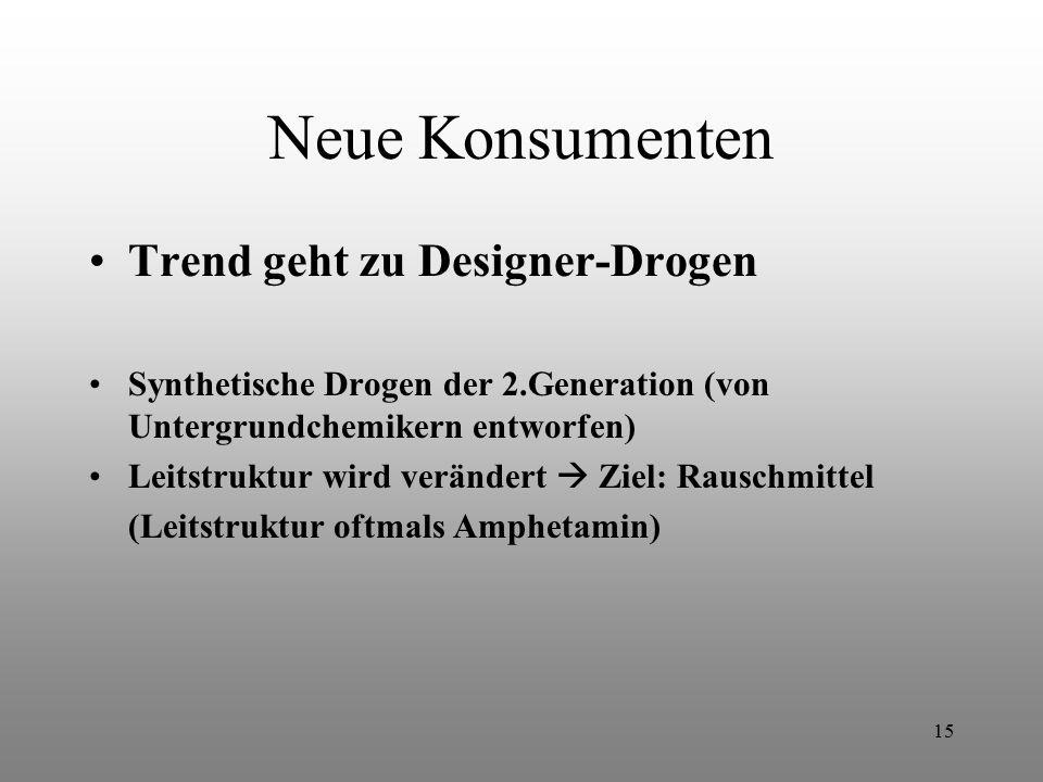 15 Neue Konsumenten Trend geht zu Designer-Drogen Synthetische Drogen der 2.Generation (von Untergrundchemikern entworfen) Leitstruktur wird verändert