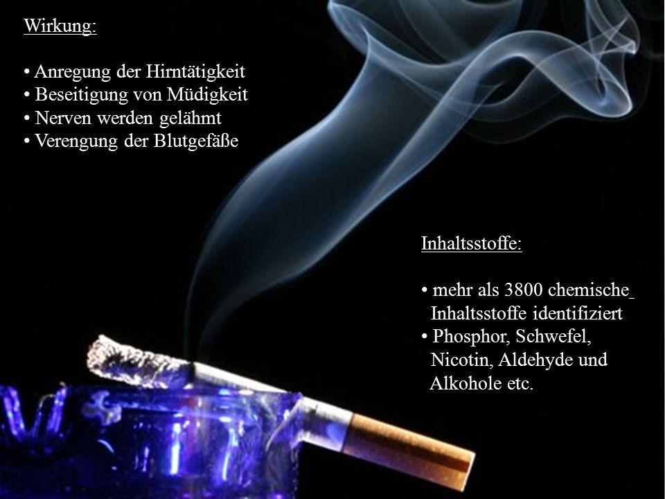 21 Tabak Wirkung: Anregung der Hirntätigkeit Beseitigung von Müdigkeit und Unlustgefühlen Nerven werden gelähmt Blutgefäße verengt (  Durchblutungsst