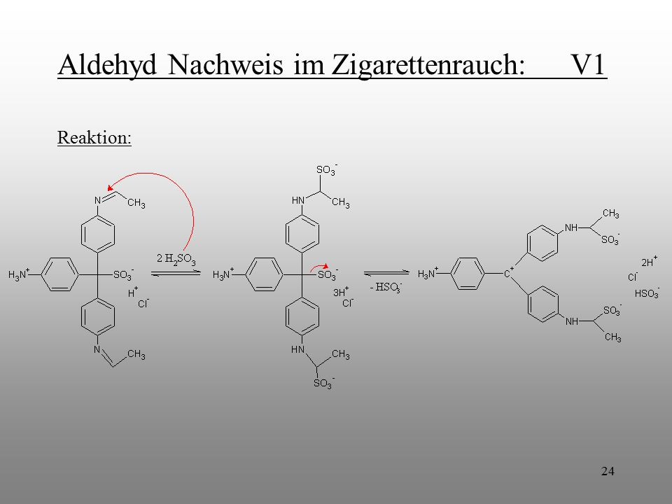 24 Aldehyd Nachweis im Zigarettenrauch: V1 Reaktion: