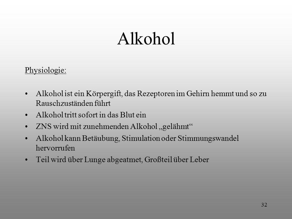 32 Alkohol Physiologie: Alkohol ist ein Körpergift, das Rezeptoren im Gehirn hemmt und so zu Rauschzuständen führt Alkohol tritt sofort in das Blut ei