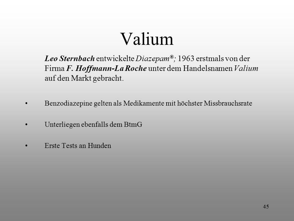 45 Valium Leo Sternbach entwickelte Diazepam ® ; 1963 erstmals von der Firma F. Hoffmann-La Roche unter dem Handelsnamen Valium auf den Markt gebracht