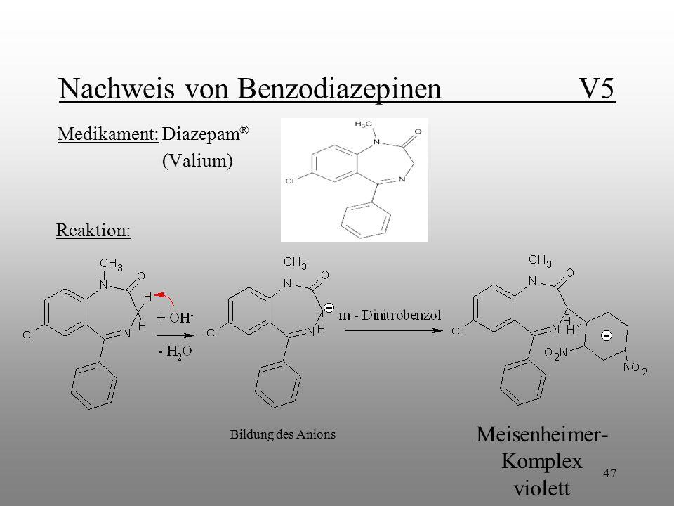 47 Nachweis von Benzodiazepinen V5 Medikament: Diazepam ® (Valium) Reaktion: Bildung des Anions Meisenheimer- Komplex violett