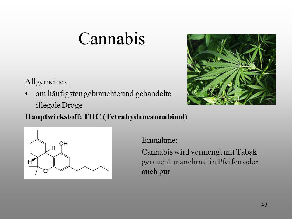 49 Cannabis Allgemeines: am häufigsten gebrauchte und gehandelte illegale Droge Hauptwirkstoff: THC (Tetrahydrocannabinol) Einnahme: Cannabis wird ver