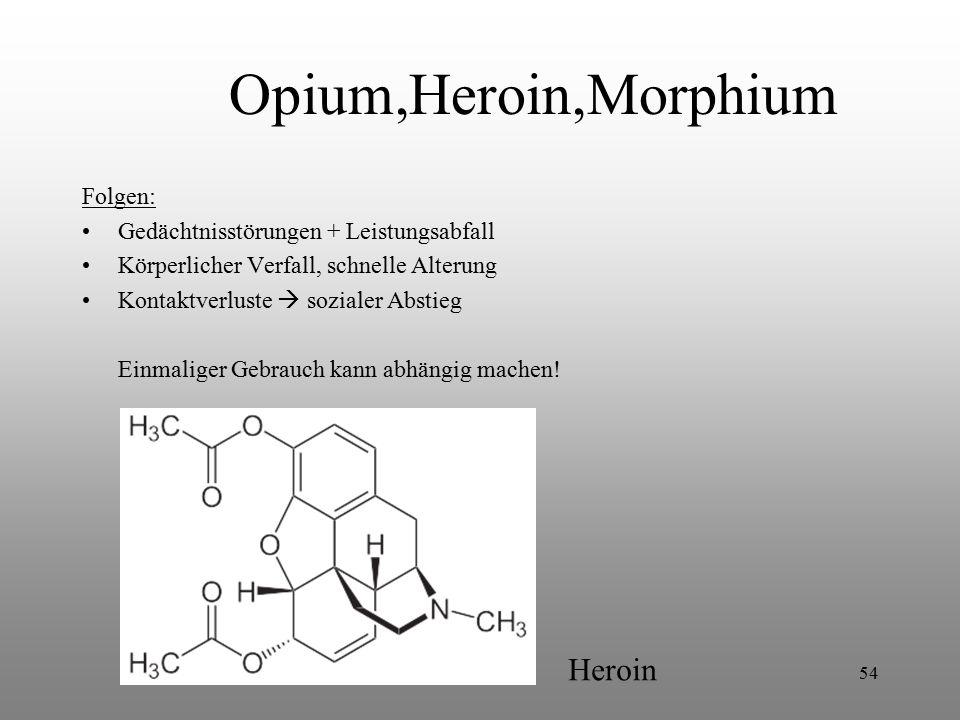 54 Opium,Heroin,Morphium Folgen: Gedächtnisstörungen + Leistungsabfall Körperlicher Verfall, schnelle Alterung Kontaktverluste  sozialer Abstieg Einm