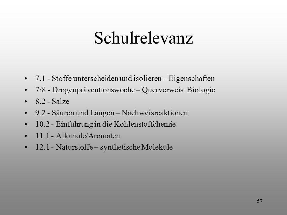 57 Schulrelevanz 7.1 - Stoffe unterscheiden und isolieren – Eigenschaften 7/8 - Drogenpräventionswoche – Querverweis: Biologie 8.2 - Salze 9.2 - Säure