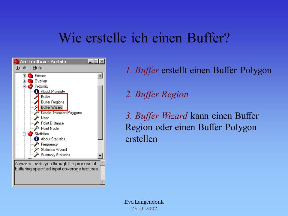 Eva Langendonk 25.11.2002 Praktische Anwendung von Buffer Region&Buffer Polygon Buffer Region Liege ich im Einzugs- gebiet einer der beiden Supermärkte.