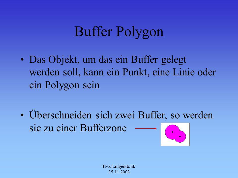 Eva Langendonk 25.11.2002 Buffer Polygon Das Objekt, um das ein Buffer gelegt werden soll, kann ein Punkt, eine Linie oder ein Polygon sein Überschneiden sich zwei Buffer, so werden sie zu einer Bufferzone