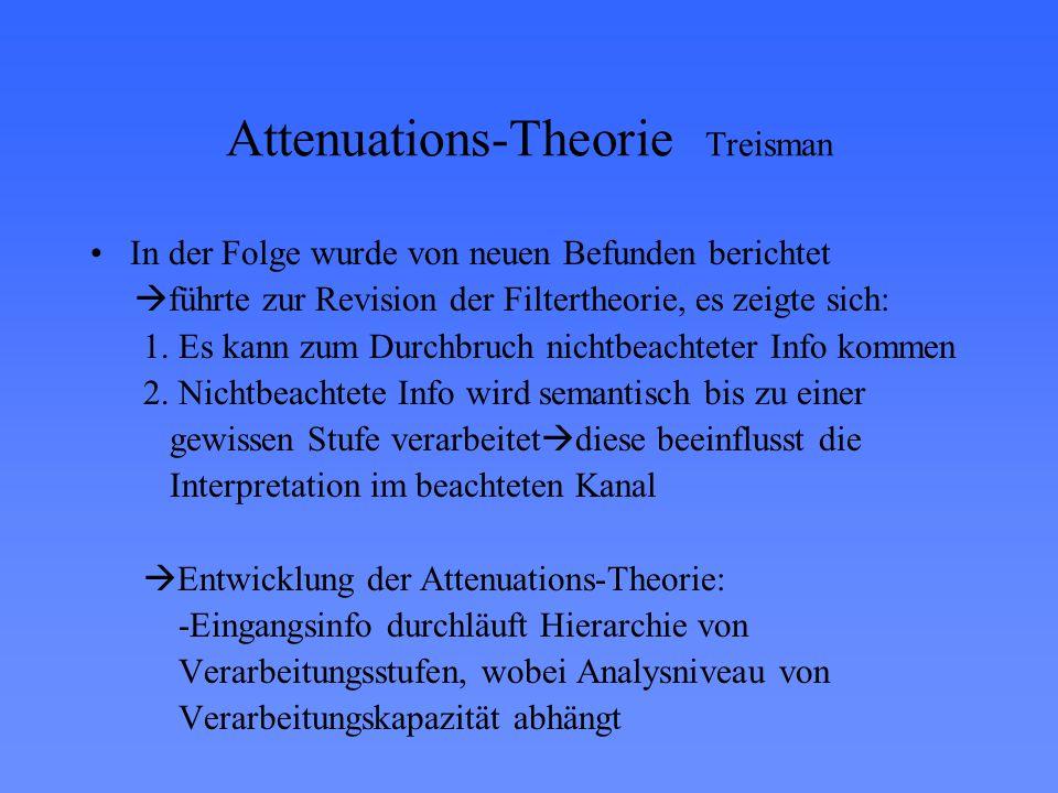 Attenuations-Theorie Treisman In der Folge wurde von neuen Befunden berichtet  führte zur Revision der Filtertheorie, es zeigte sich: 1. Es kann zum