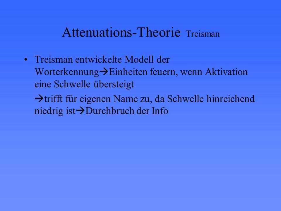 Attenuations-Theorie Treisman Treisman entwickelte Modell der Worterkennung  Einheiten feuern, wenn Aktivation eine Schwelle übersteigt  trifft für eigenen Name zu, da Schwelle hinreichend niedrig ist  Durchbruch der Info