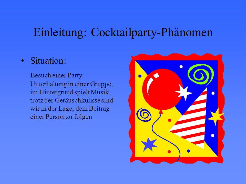 Einleitung: Cocktailparty-Phänomen Situation: Besuch einer Party Unterhaltung in einer Gruppe, im Hintergrund spielt Musik, trotz der Geräuschkulisse