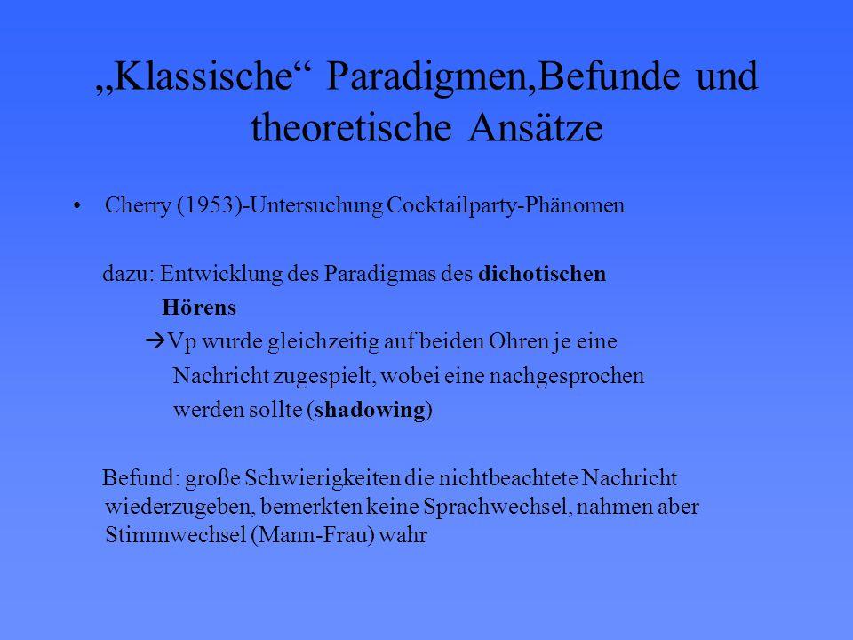 """""""Klassische"""" Paradigmen,Befunde und theoretische Ansätze Cherry (1953)-Untersuchung Cocktailparty-Phänomen dazu: Entwicklung des Paradigmas des dichot"""