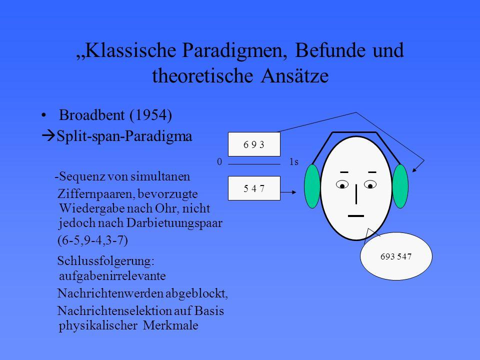 """""""Klassische Paradigmen, Befunde und theoretische Ansätze Broadbent (1954)  Split-span-Paradigma -Sequenz von simultanen Ziffernpaaren, bevorzugte Wiedergabe nach Ohr, nicht jedoch nach Darbietuungspaar (6-5,9-4,3-7) Schlussfolgerung: aufgabenirrelevante Nachrichtenwerden abgeblockt, Nachrichtenselektion auf Basis physikalischer Merkmale 693 547 5 4 7 6 9 3 01s"""