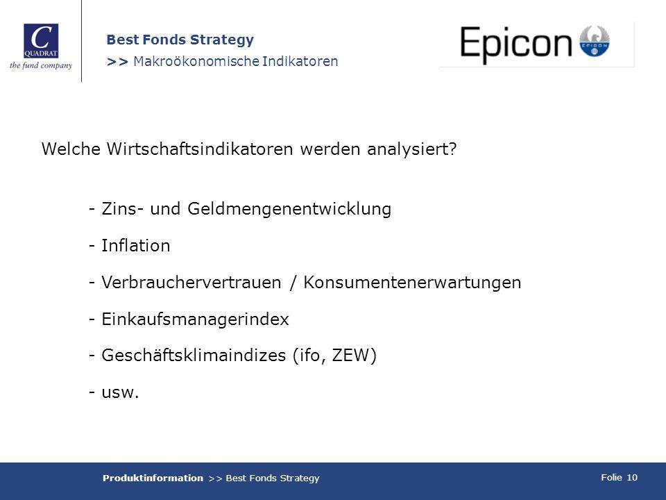 Folie 10 Best Fonds Strategy >> Makroökonomische Indikatoren Welche Wirtschaftsindikatoren werden analysiert? - Zins- und Geldmengenentwicklung - Infl