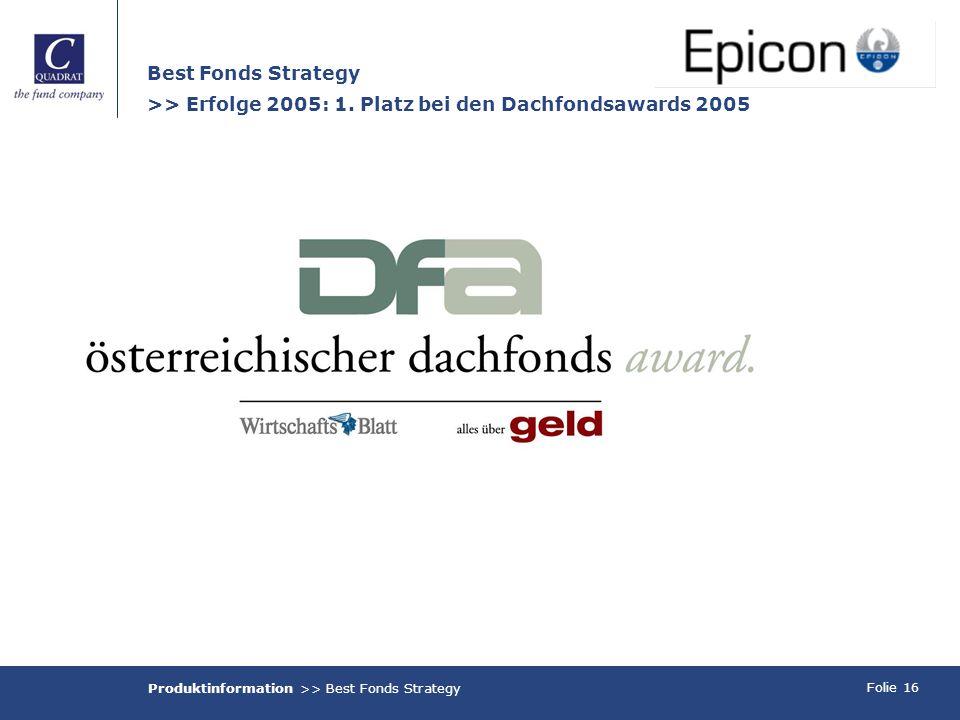 Folie 16 Best Fonds Strategy >> Erfolge 2005: 1. Platz bei den Dachfondsawards 2005 Produktinformation >> Best Fonds Strategy