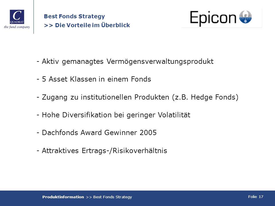 Folie 17 Best Fonds Strategy >> Die Vorteile im Überblick - Aktiv gemanagtes Vermögensverwaltungsprodukt - 5 Asset Klassen in einem Fonds - Zugang zu institutionellen Produkten (z.B.