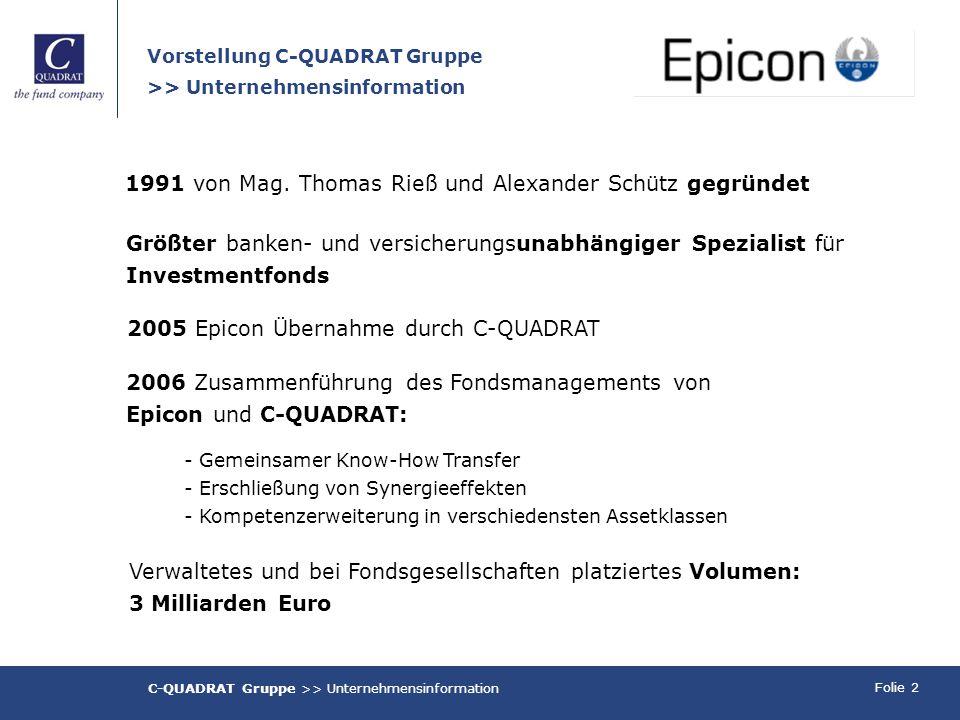 Folie 2 Größter banken- und versicherungsunabhängiger Spezialist für Investmentfonds 1991 von Mag. Thomas Rieß und Alexander Schütz gegründet Verwalte