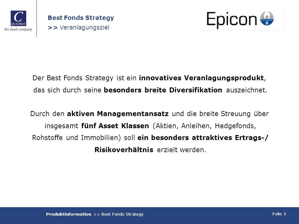 Folie 5 Best Fonds Strategy >> Veranlagungsziel Der Best Fonds Strategy ist ein innovatives Veranlagungsprodukt, das sich durch seine besonders breite