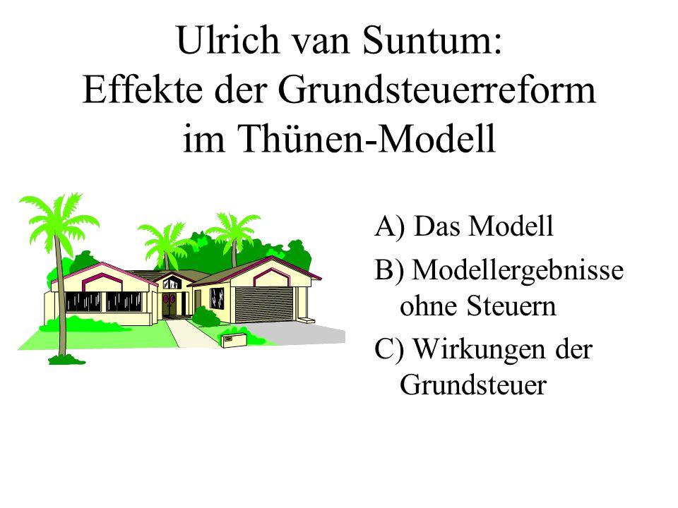 Ulrich van Suntum: Effekte der Grundsteuerreform im Thünen-Modell A) Das Modell B) Modellergebnisse ohne Steuern C) Wirkungen der Grundsteuer