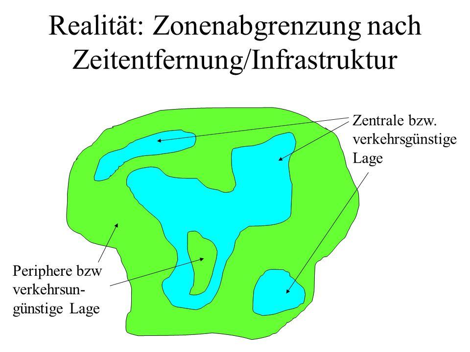 Realität: Zonenabgrenzung nach Zeitentfernung/Infrastruktur Zentrale bzw. verkehrsgünstige Lage Periphere bzw verkehrsun- günstige Lage