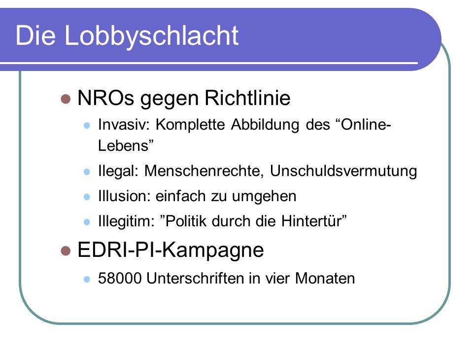 Die Lobbyschlacht NROs gegen Richtlinie Invasiv: Komplette Abbildung des Online- Lebens Ilegal: Menschenrechte, Unschuldsvermutung Illusion: einfach zu umgehen Illegitim: Politik durch die Hintertür EDRI-PI-Kampagne 58000 Unterschriften in vier Monaten