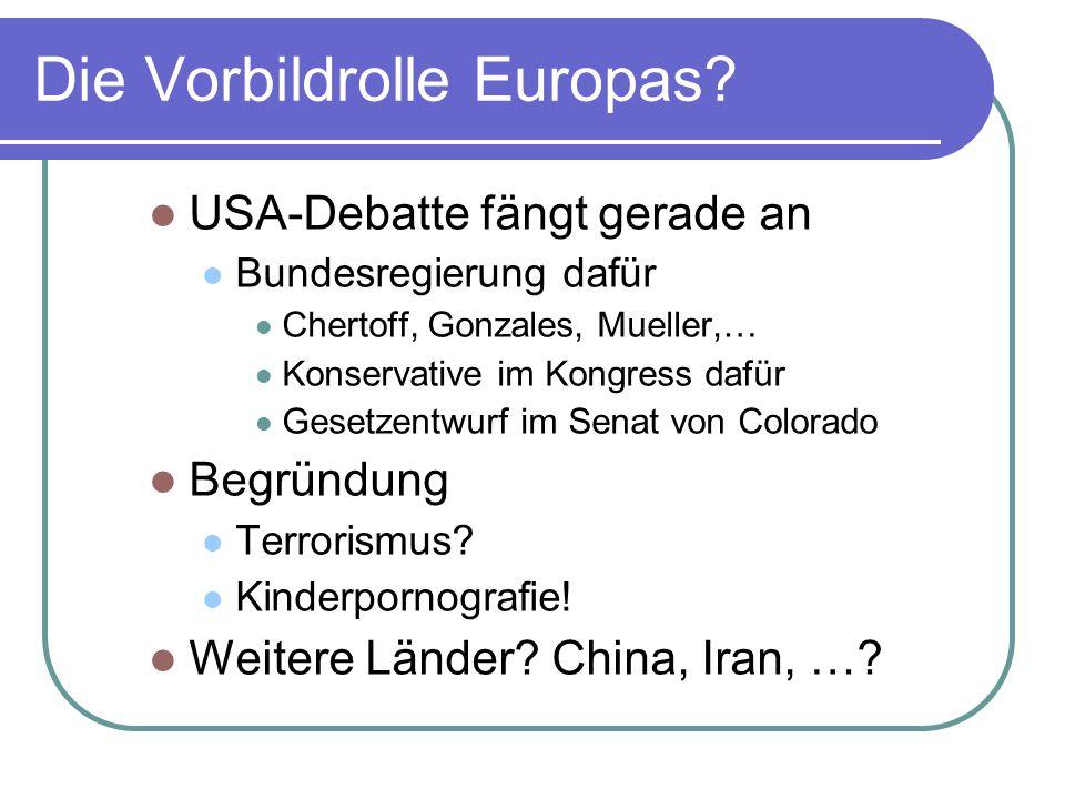 Die Vorbildrolle Europas.