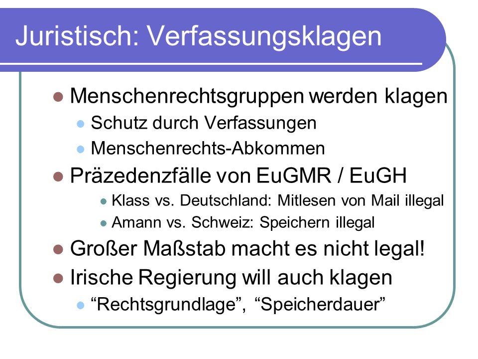 Juristisch: Verfassungsklagen Menschenrechtsgruppen werden klagen Schutz durch Verfassungen Menschenrechts-Abkommen Präzedenzfälle von EuGMR / EuGH Klass vs.