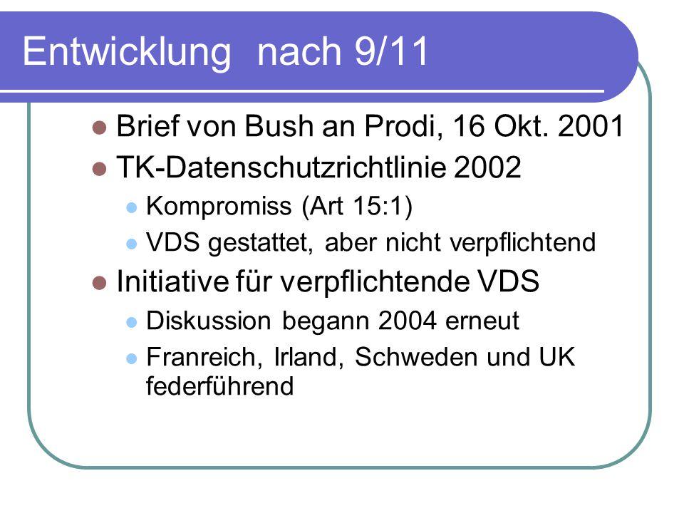 Entwicklung nach 9/11 Brief von Bush an Prodi, 16 Okt.