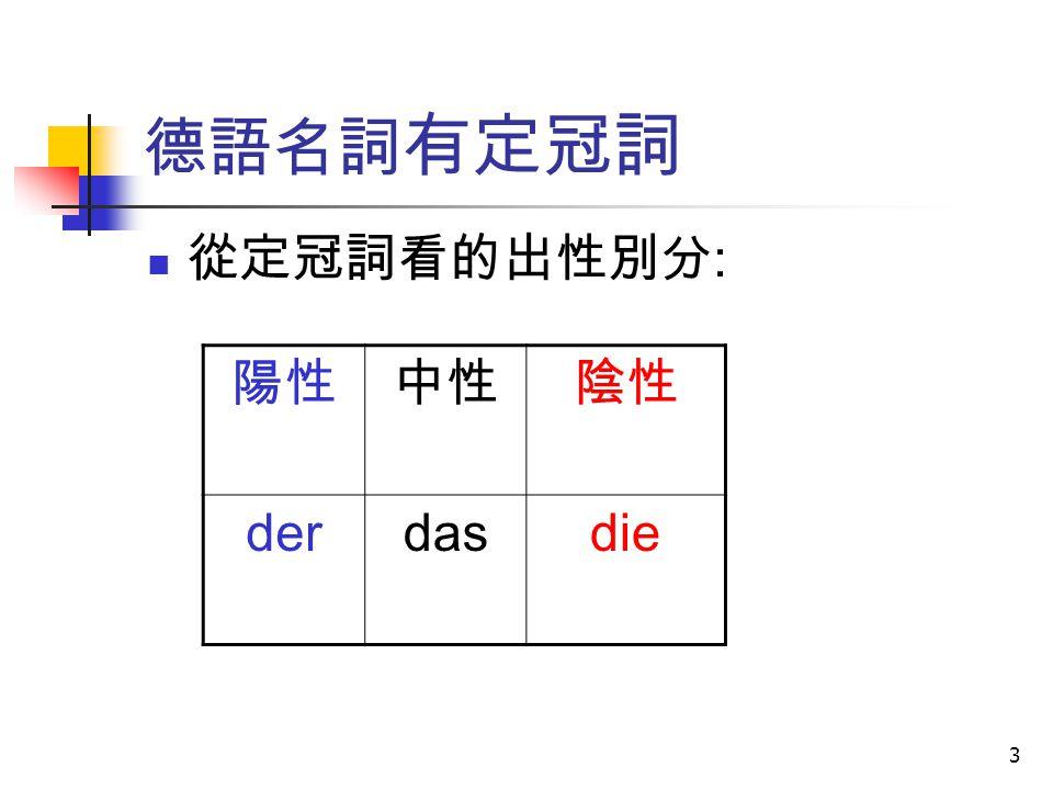 3 德語名詞 有定冠詞 從定冠詞看的出性別分 : 陽性中性陰性 derdasdie