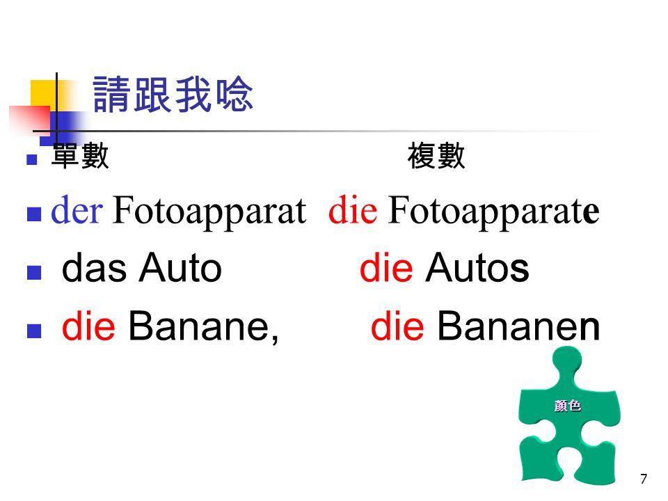 8 陽性 中性 陰性 單數 der Fotoapparat das Auto die Banane 複數 die Fotoapparate die Autos die Bananen 德文的名詞要大寫 名詞複數形不相同 所有的名詞複數 定冠詞皆是 die 顏色 顏色有 意義 .