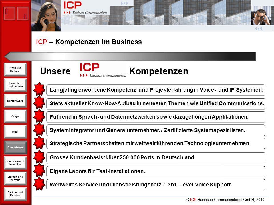 © ICP Business Communications GmbH, 2010 Produkte und Service Nortel/Avaya Avaya Kompetenzen Stärken und Vorteile Standorte und Kontakte Partner und Kunden Profil und Historie Mitel ICP – Kompetenzen im Business Kompetenzen Unsere Kompetenzen Langjährig erworbene Kompetenz und Projekterfahrung in Voice- und IP Systemen.