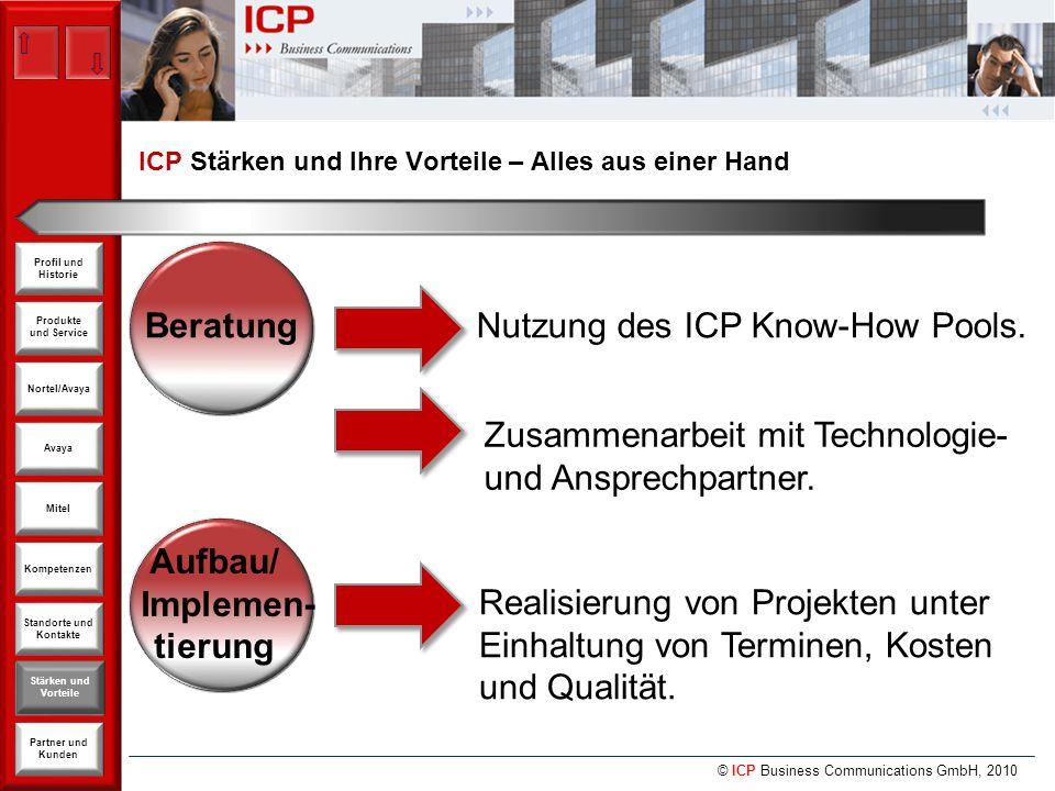 © ICP Business Communications GmbH, 2010 Produkte und Service Nortel/Avaya Avaya Kompetenzen Stärken und Vorteile Standorte und Kontakte Partner und Kunden Profil und Historie Mitel Beratung Nutzung des ICP Know-How Pools.