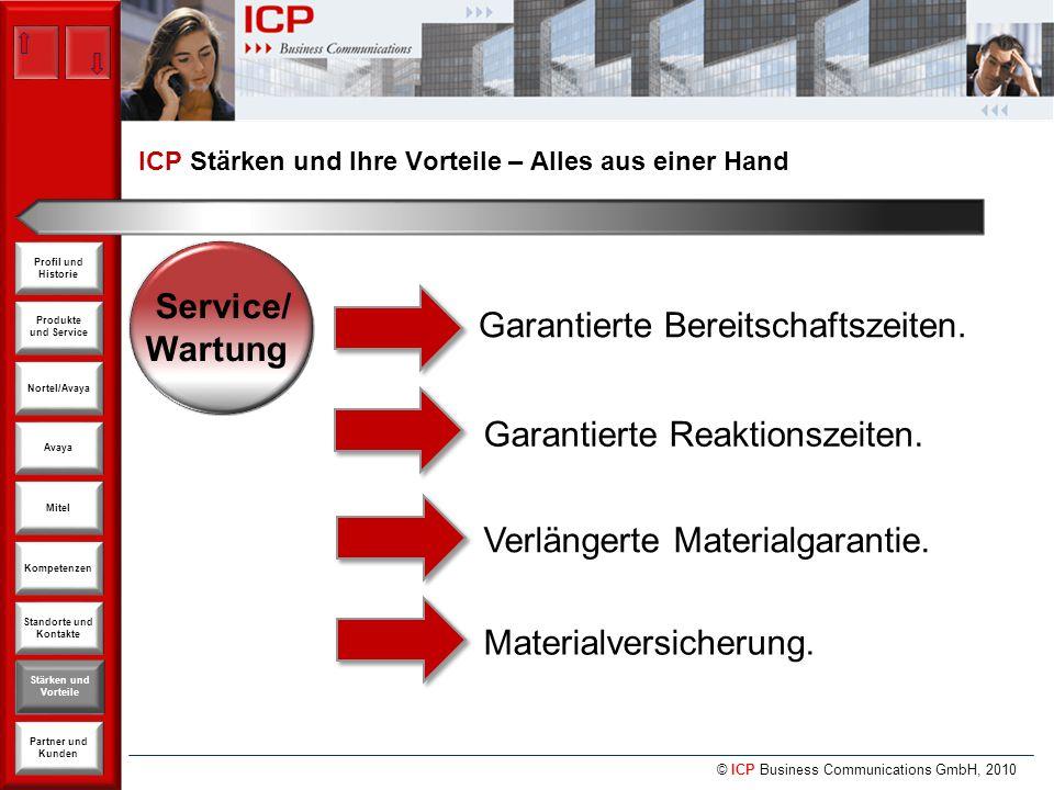 © ICP Business Communications GmbH, 2010 Produkte und Service Nortel/Avaya Avaya Kompetenzen Stärken und Vorteile Standorte und Kontakte Partner und Kunden Profil und Historie Mitel Service/ Wartung Garantierte Bereitschaftszeiten.