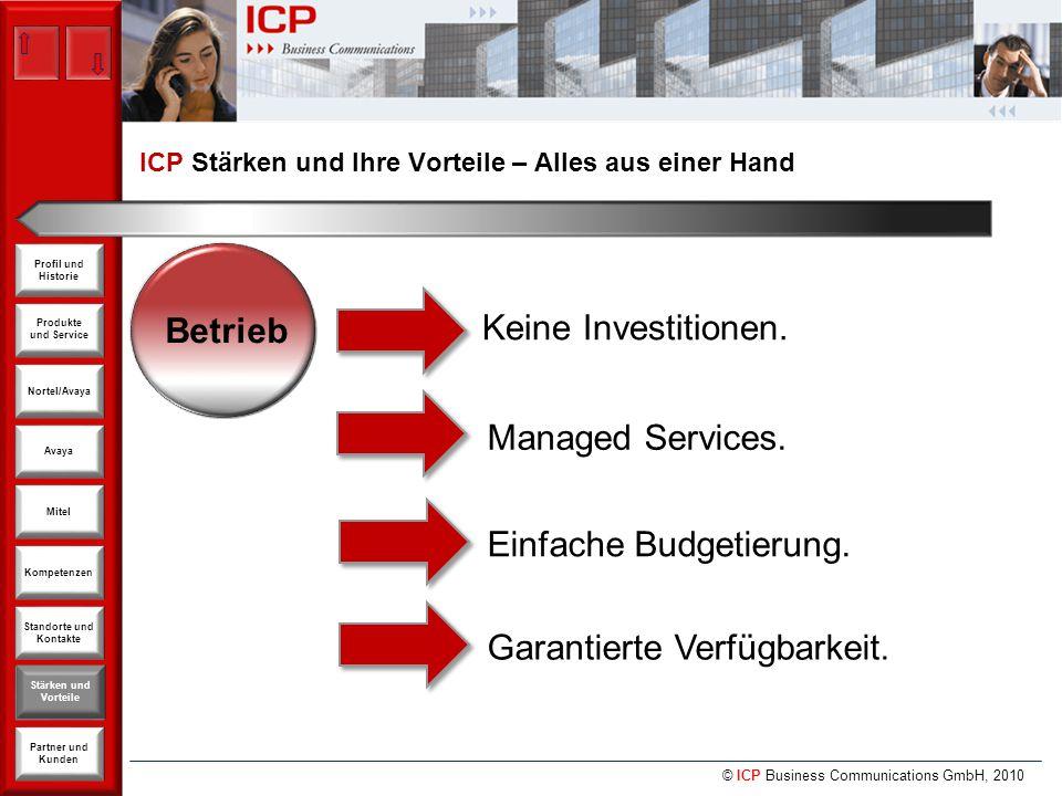 © ICP Business Communications GmbH, 2010 Produkte und Service Nortel/Avaya Avaya Kompetenzen Stärken und Vorteile Standorte und Kontakte Partner und Kunden Profil und Historie Mitel Betrieb Keine Investitionen.