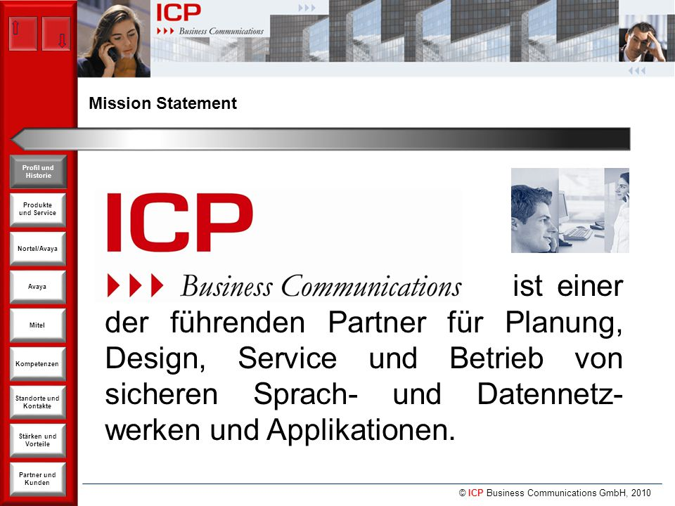 © ICP Business Communications GmbH, 2010 Produkte und Service Nortel/Avaya Avaya Kompetenzen Stärken und Vorteile Standorte und Kontakte Partner und Kunden Profil und Historie Mitel Mitel - Kostenvorteile Mitel MICD reduziert Rechenzentrums-Kosten People 29% Software 22% Overhead 2% Disaster Recovery 7% Storage 7% Networking 10% Servers 11% Energy / Facilities 12%