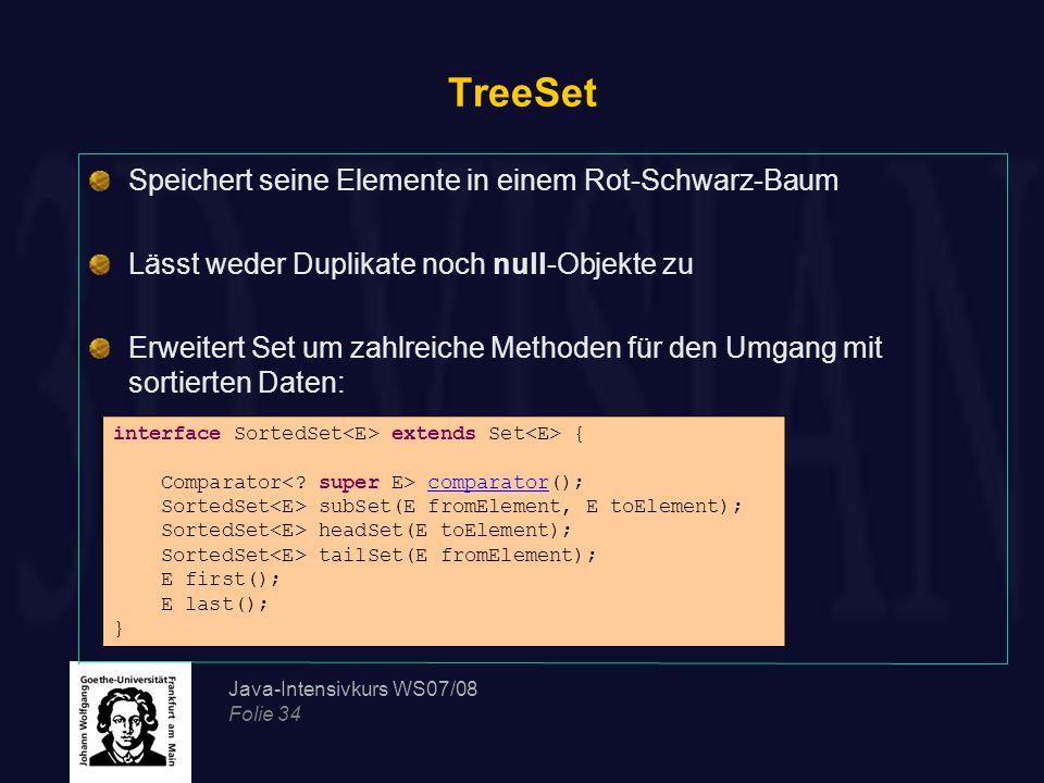 Java-Intensivkurs WS07/08 Folie 34 TreeSet Speichert seine Elemente in einem Rot-Schwarz-Baum Lässt weder Duplikate noch null-Objekte zu Erweitert Set um zahlreiche Methoden für den Umgang mit sortierten Daten: interface SortedSet extends Set { Comparator comparator(); SortedSet subSet(E fromElement, E toElement); SortedSet headSet(E toElement); SortedSet tailSet(E fromElement); E first(); E last(); }